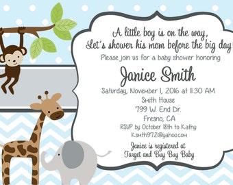 Jungle Baby Shower Invitation, jungle baby boy shower, baby boy, monkey, giraffe, elephant, DIY and printable
