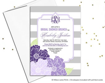 Flower bridal shower invitation | wedding shower invite stripes gray and white, purple and lavender | printable or printed - WLP00659