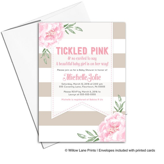 Modern baby girl shower invitations | pink and tan stripe baby shower invites | tickled pink baby shower | printable or printed - WLP00799