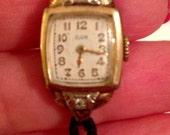 Vintage Antique Elgin 10k GF diamond watch with masonic charm 10k gold