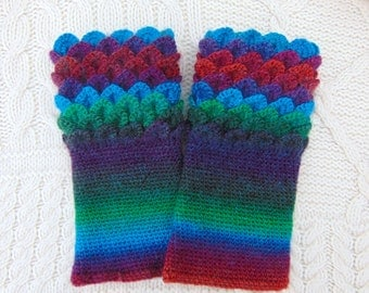 Rainbow Wrist Warmers, Crochet Wristwarmers, Crocodile Stitch Wrist Cuffs, Handmade in Ireland