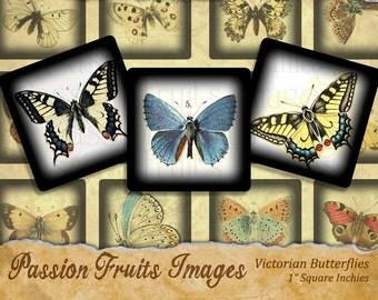 Vintage Butterfly Images Scrabble Tile 2 Digital Collage Sheet
