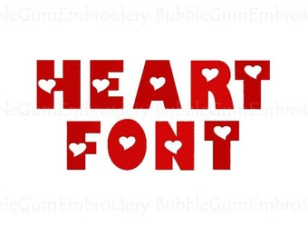 Heart Alphabet Embroidery Font Instant download