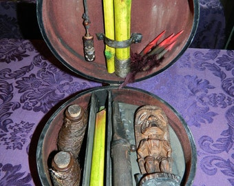 TIKI Vampire Killing Kit w/Sharktooth Knife, Dart Blow Gun, Only 1 of its Kind ANYWHERE By CRYSTOBAL - Polynesian Pop, Hawaiian Occult