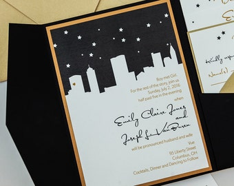starry night skyline wedding invitationpocketfold nyc skyline wedding invitationcolumbus wedding invite - Wedding Invitations Chicago