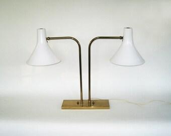 GRETTA VON NESSEN Double Cone Library Lamps Rare Mid Century