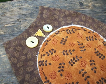 Primitive  Owl Candle Mat Raggedy Rustic Country Fall Table Decor