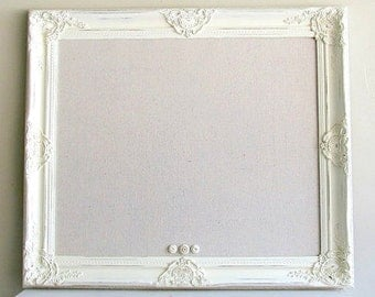 FRENCH COUNTRY DECOR Bulletin Board Message Board French Country Cottage Wall Decor Home Decor Decorative Magnetic Board Linen Cream Ivory
