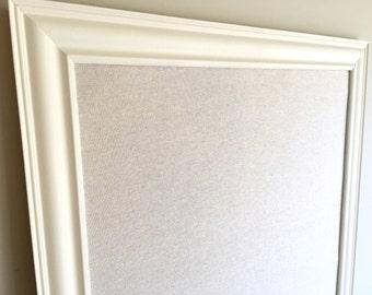 MEMO BOARD Linen Cork Board Framed Pin Board Ivory Cream Gender Neutral Nursery Decor Desk Organizer Home Office Wedding Seating Cards