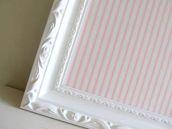 Ticking Fabric MAGNETIC BOARD Nursery Pink Black Cream Red Framed Magnetic Board Wall Decor Memo Board Office Baby Gift Kitchen Stripe White