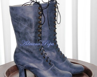NEW Victorian Boots in Blue Velvet / Deep see worn leather Limited edition
