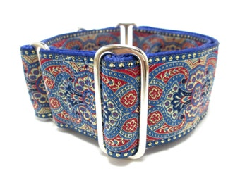 """Houndstown 2"""" Cobalt Castelli Unlined Martingale Collar Size Small, Medium, or Large"""
