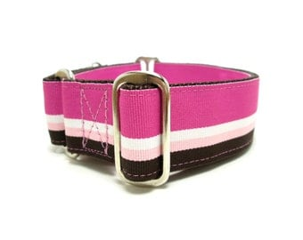 """Houndstown 1.5"""" Pink Stripes Unlined Buckle or Martingale Collar, Any Size"""