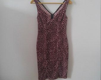 90s Lip Service fuzzy pink leopard print dress
