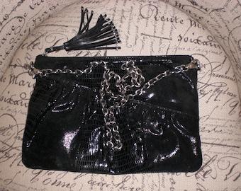 Black leather bag, Designer purse, crossbody, clutch
