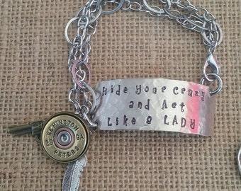 """Miranda Lambert inspired """"Hide your Crazy"""" Bracelet"""