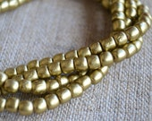 5x4mm Barrel Wood Gold Beads Two 16in Strand