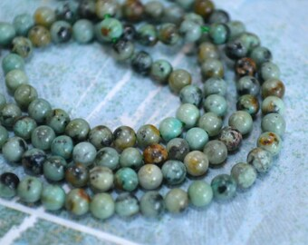 6mm Round African Turquoise Blue Natural Gemstone Beads 16 Inches Strand