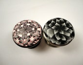For Cherrie 16 grey and black on brushed nickel      And 3 purple flower on burnished bronze