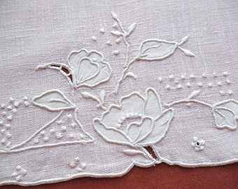 Pink Vintage Linen Hand Towel Whitework Embroidery Flower Appliques