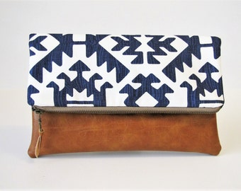 Fold Over Clutch, Leather Clutch Purse, Vegan Leather Clutch,Navy Tribal Zipper Clutch, Ipad Case, Kindle Case,Holiday Gift , Gift For Her