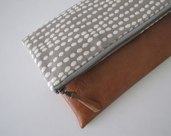 Foldover Clutch, Leather Clutch Purse, Vegan Leather Clutch, Grey Zipper Clutch, Ipad Case, Kindle Case,Holiday Gift , Gift For Her