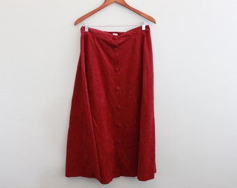 Vintage Long Maroon Button Down Skirt by Willow Ridge