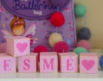 Wooden letter blocks. name and initial blocks, new baby gift, cake smash prop, new baby photo prop