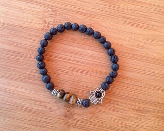 Strength and Grounding-Men's/Unisex Stretch Lava Bracelet-Feng Shui Jewelry-Chakra Balancing