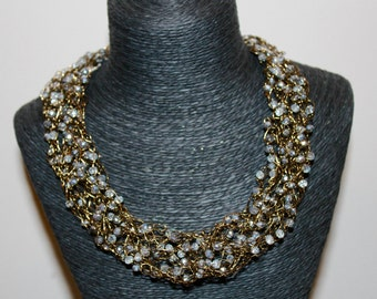 Glam Girl Crochet Wire Necklace / Czech Crystals /Feng Shui Jewelry