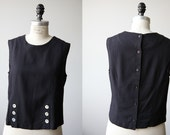 Vintage Black Crop Top Button Detail and Button Down Back Simple Minimal 90s S-M