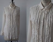 Vintage Cream Frayed Ruffle Tuxedo Blouse Button Down Front Shirt Oxford 90s S