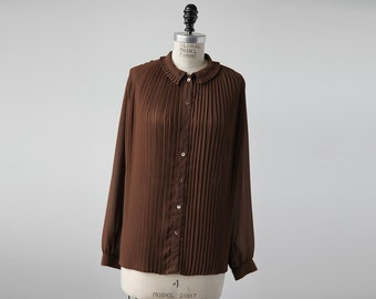 Vintage Cocoa Knife Pleat Top Brown  Blouse 70s S-M