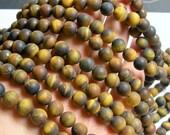Tiger eyes matte - 8 mm round beads -1 full strand - 48 beads - RFG745
