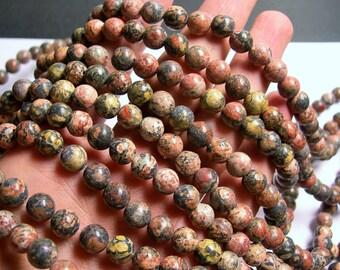 Leopard skin Jasper - 8 mm round beads -1 full strand - 48 beads - RFG766