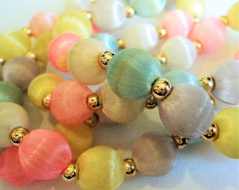 1980s Silk Bead Necklace... Pastel Candy Shades... Pink Blue Yellow White