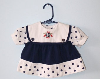 50% OFF SALE Vintage baby girls SAILOR dress . babies Navy Blue & White Polka dot Nautical dress . Baby Doll Dress . size 3 months