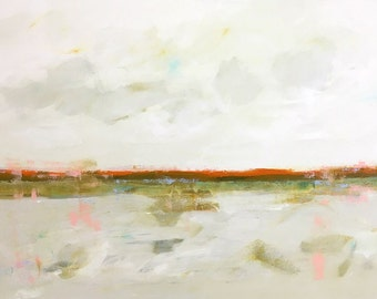 Large Abstract Landscape Painting- Indian Orange Horizon 48 x 30