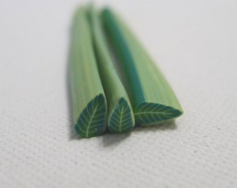 S066 Lush Green Leaf - Polymer Clay Cane for Miniature Food Deco and Nail Art