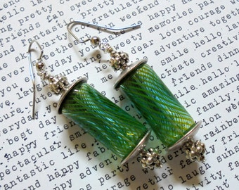 Green Hollow Glass Earrings (2574)