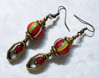 Red, Blue, Green, Yellow and White Striped Ethnic Style Earrings (2662)