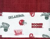 OU Sooners Crimson Hand Towel with cream stripes, Oklahoma University kitchen dish handmade,  17 x 29