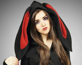 Bunny Rabbit Hoodie ears Kawaii black red animal