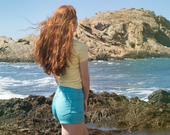 Denim Shorts pastel blue Dead stock Vintage high waist Size S