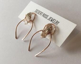 14K Rose Goldfill + Topaz Earrings