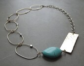 turquoise stone bronze link necklace, bronze chain hammered necklace