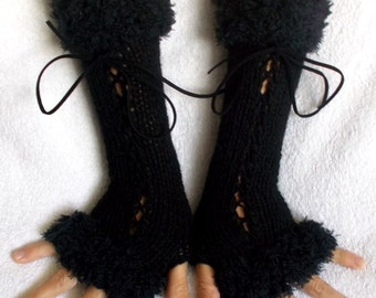 Black Corset  Gloves Long Handknitted  Fingerless Arm Warmers with Suede Ribbons Victorian Style