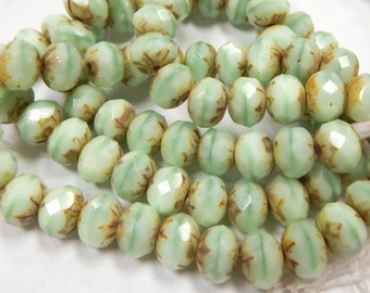 6x8 Rondell Striped Mint Picasso (10 Beads) Czech Glass 68Ron1053