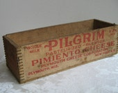 Vintage Pilgrim Pimiento Cheese Wood Crate Box by Plymouth Cheese Corp., Dovetail Five Pounds, Rustic Industrial Farmhouse, RARE Collectible