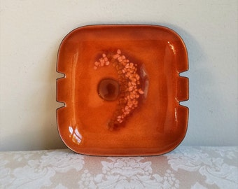 Vintage Bovano Ashtray Copper Enamel Square Tray Dish Amber Orange Mid Century Modern Abstract STUNNING